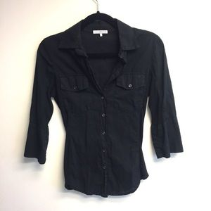 JAMES PERSE Sheer Slub Side Panel Button Down